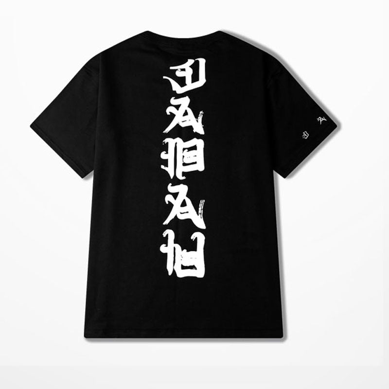 Hip Hop t shirt Men Women Tees Fashion Evil Kanji Print Summer Cotton T-Shirt Streetwear Oversized Swag Shirts 2018 Tees Shirts-geekbuyig