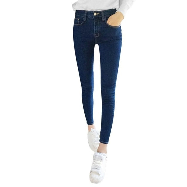 Skinny Jeans Woman Autumn New 2018 High Quality Women Fashion Slim Jeans Female Washed Casual Skinny Stretch Pencil Denim Pants-geekbuyig