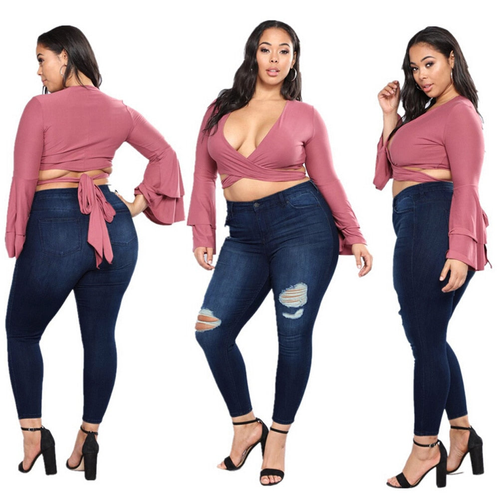 2018 New Fashion For Women Plus Size Jeans Women Ladies High Waist Slim Skinny Jeans Stretch Pencil Denim Pants Summer YL-NEW-geekbuyig