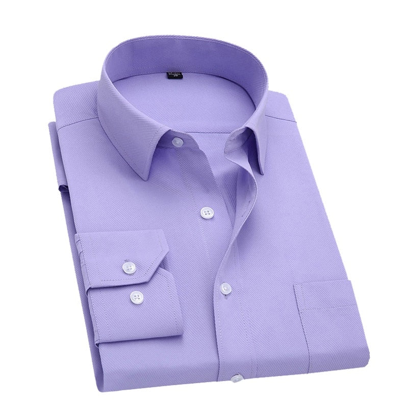 Long Sleeve Slim Men Dress Shirt 2018 Brand New Fashion Designer High Quality Solid Male Clothing Fit Business Shirts 4XL-geekbuyig