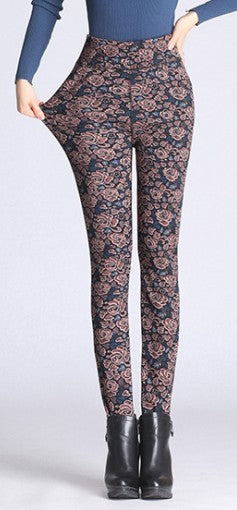 Printed Leggings Fleece Lined Winter Plus Size Velvet Thickening Legging Winter Stretch Lady Pants Women Trouser Female Leggins-geekbuyig