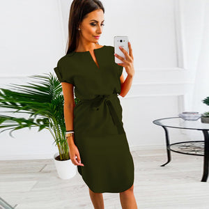 Dress Women Summer Hot Sale Party Dress 2018 Solid Wine Black V-neck Sashes Short Sleeve Vintage Sexy Beach Dress Tunic Vestido-geekbuyig