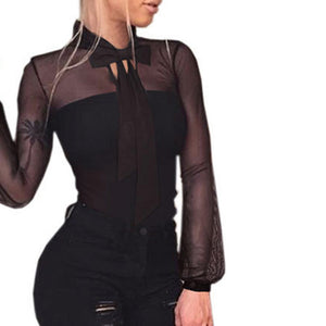 Transparent Sexy Bodysuit Bow Tie Black mesh Jumpsuit Long Sleeve Body Women Top Rompers Playsuits Casual Crop Top female EY11-geekbuyig