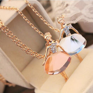 2018 Gold/Silver Chain Shiny Crystal Ballerina Girl Pendant Necklace Statement Long Necklace Jewelry Female Long Necklace women-geekbuyig