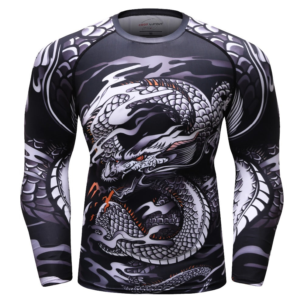 BJJ MMA Fight Compression Shirt Raglan Long Sleeve 3D Print Men's T shirts Fitness Male Bodybuilding Cross fit Tops Sportswear-geekbuyig