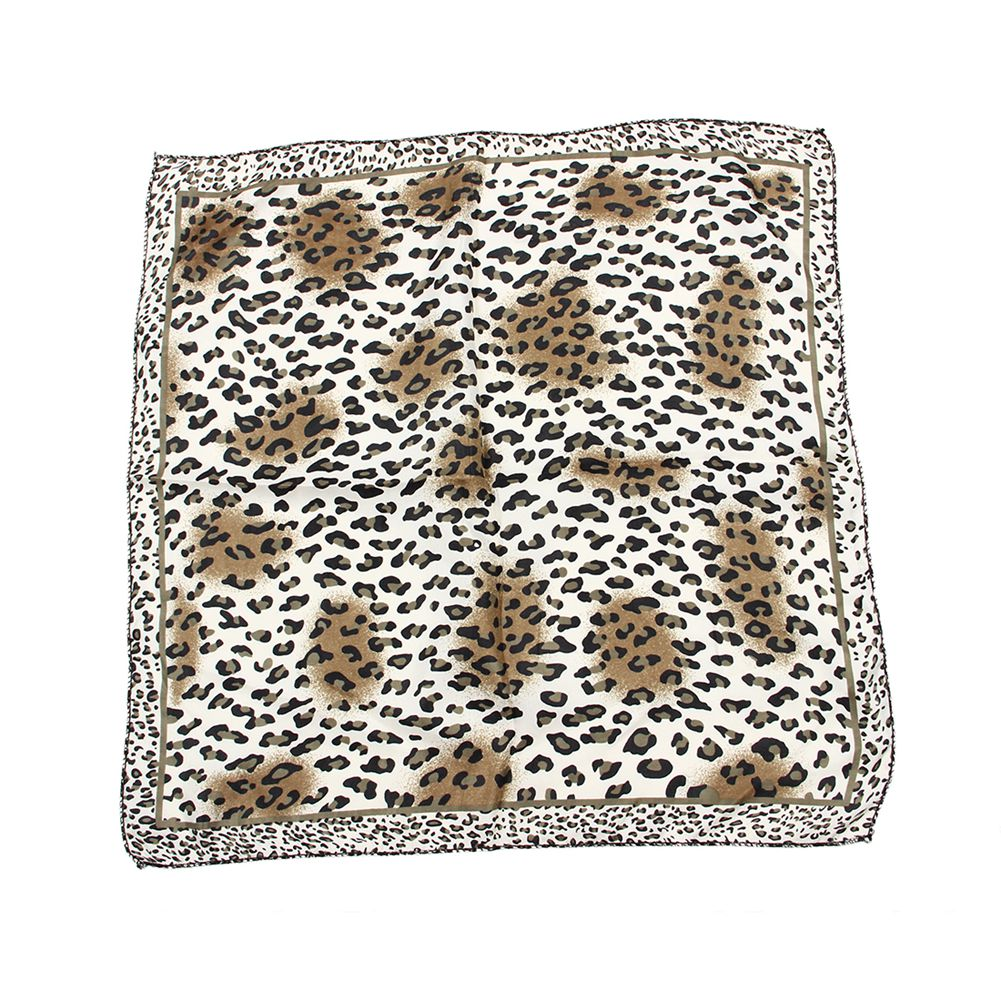 AASS Women Leopard Prints Casual Square Neck Kerchief Black white-geekbuyig