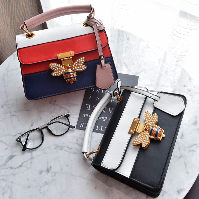 2018 Luxury Crossbody bag Women Colorful splicing Little Bee Bags Design Handbag Female Shoulder Bags Messenger Bag Sac Femme-geekbuyig
