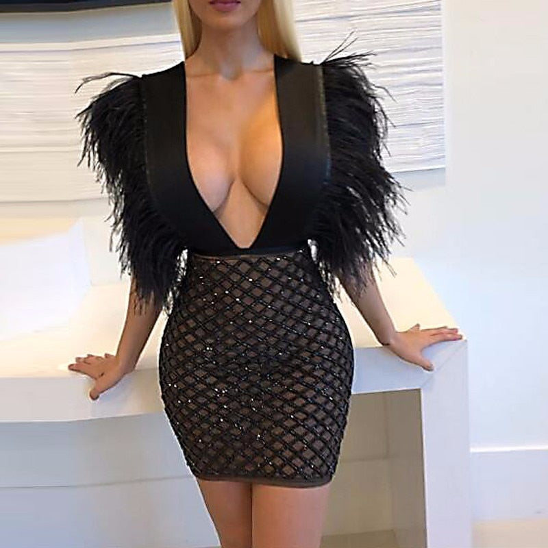 Feditch 2018 New Party Dress Women Fashion Feather Sequin Dresses Sexy V Neck Nightclub Wear Black Dresses Lady Vestidos-geekbuyig