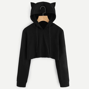 Long Sleeve Top Cropped Hoodies Sweatshirt Women Kawaii Cat Hooded Pullover Crop Tops Autumn And Winter Black Casual Clothes-geekbuyig