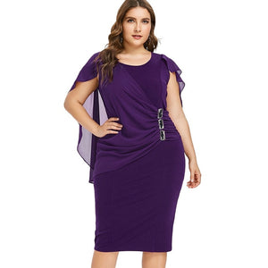 Wipalo Plus Size 5XL Capelet Knee Length Fitted Party Dress Women Sleeveless Scoop Neck Sheath Dress Rhinestone Overlay Vestidos-geekbuyig