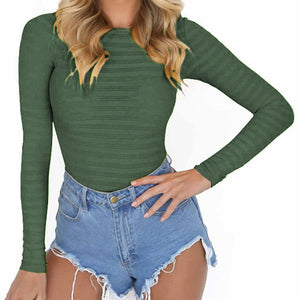 New Women Bodysuits Feminino Mujer Sexy Skinny Rompers Long Sleeve O Neck Solid Body Top Jumpsuit Bodysuit Autumn Clubwear GV125-geekbuyig