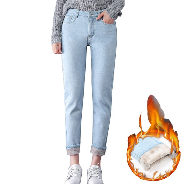 Winter Warm Jeans Women 2018 High Waist Cotton Casual Bodycon Vintage Velvet Ladies Trousers Female Pantalon Denim Pants-geekbuyig