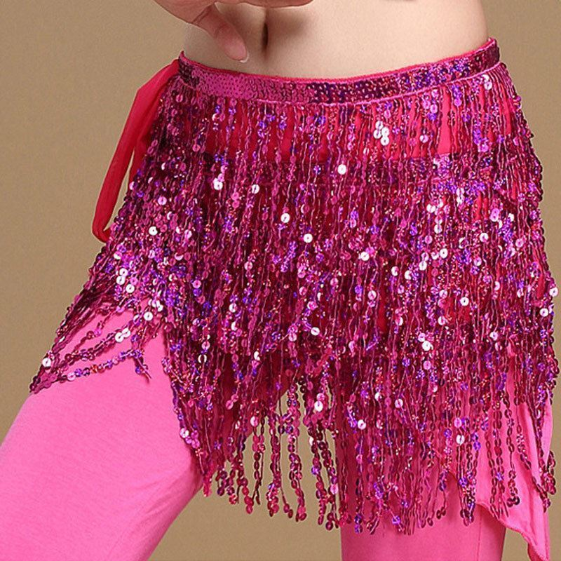 Ruffles Sash Skirt Women High Waist Sexy Casual vestido Belly Dance Dancer Costume Sequins Tassel Fringe Hip Wrap Skirts-geekbuyig