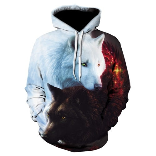 Cute YinYang Cat 3D Woman Hoodies Galaxy Cats Prints Hooded Sweatshirt Cool Wolf/Lions/Tiger Hoodies Hip-hop Pullovers Drop Ship-geekbuyig
