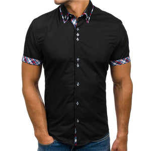 2018 Fashion Brand Short Sleeves Mens Cotton Tops Shirt Plus Size Lattice Mens Casual Slim Fit Summer Shirt Homme 3XL-geekbuyig