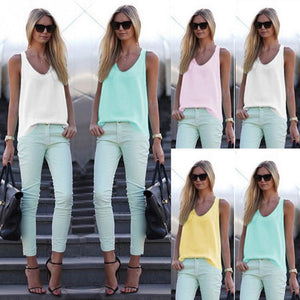 Shirt Women Summer Chiffon Tops White pink Sleeveless Blouses For Women Clothes Elegant casual Feminine Shirts plus size s-xxl-geekbuyig