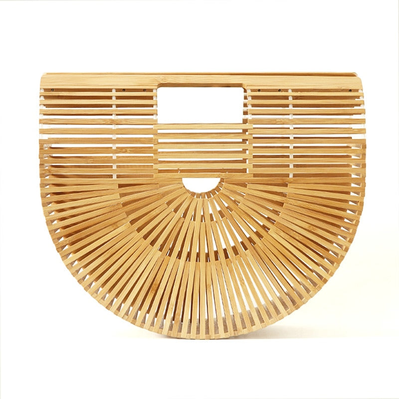 Women Handbag Female Big Travel Vacation Totes Bamboo Handbag For Ladies Handmade Woven Straw Beach Bag Summer Women's Purse-geekbuyig