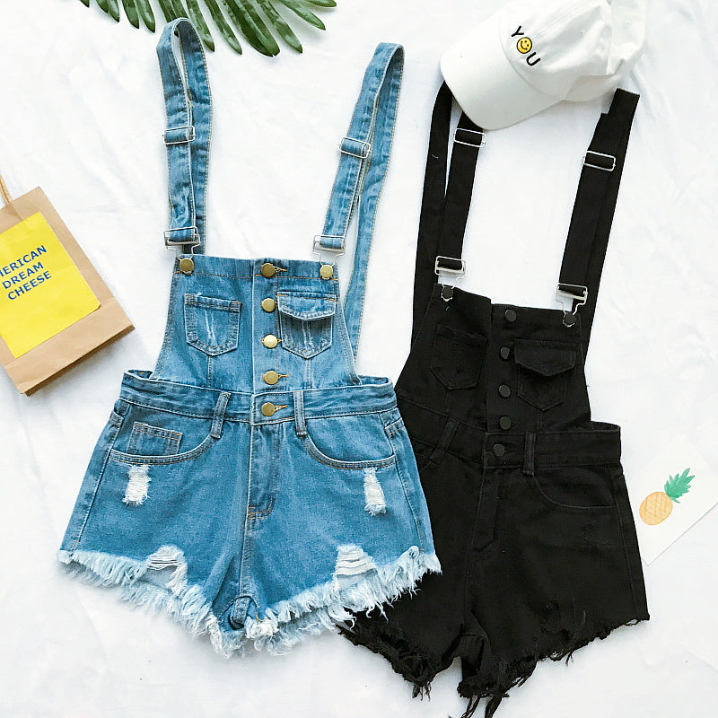 2018 Hot Vogue Women Clothing Denim Playsuits Cotton Strap Rompers Shorts Loose Casual Overalls Shorts Rompers Female Playsuits-geekbuyig