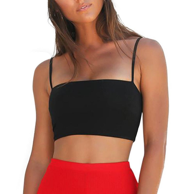 Summer Sexy Stretchy Crop Camis Top Slim Elasitc Party Vest Black Yellow Red Spaghetti Strap Women Plain Adjustable Tanks Tops-geekbuyig