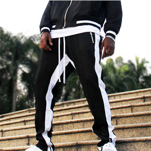 Sports Cotton pants Men Stripe Pocket Overalls Casual Pocket Sport Work Casual Elastic Waist Pants #0913 A#487-geekbuyig