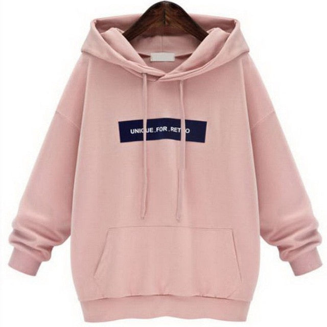 SHUJIN Oversized Pink Hoodie Sweatshirt Women Autumn Long Sleeve Hoodies Sweatshirt Fashion Letter Print Womens Clothes 6XL-geekbuyig