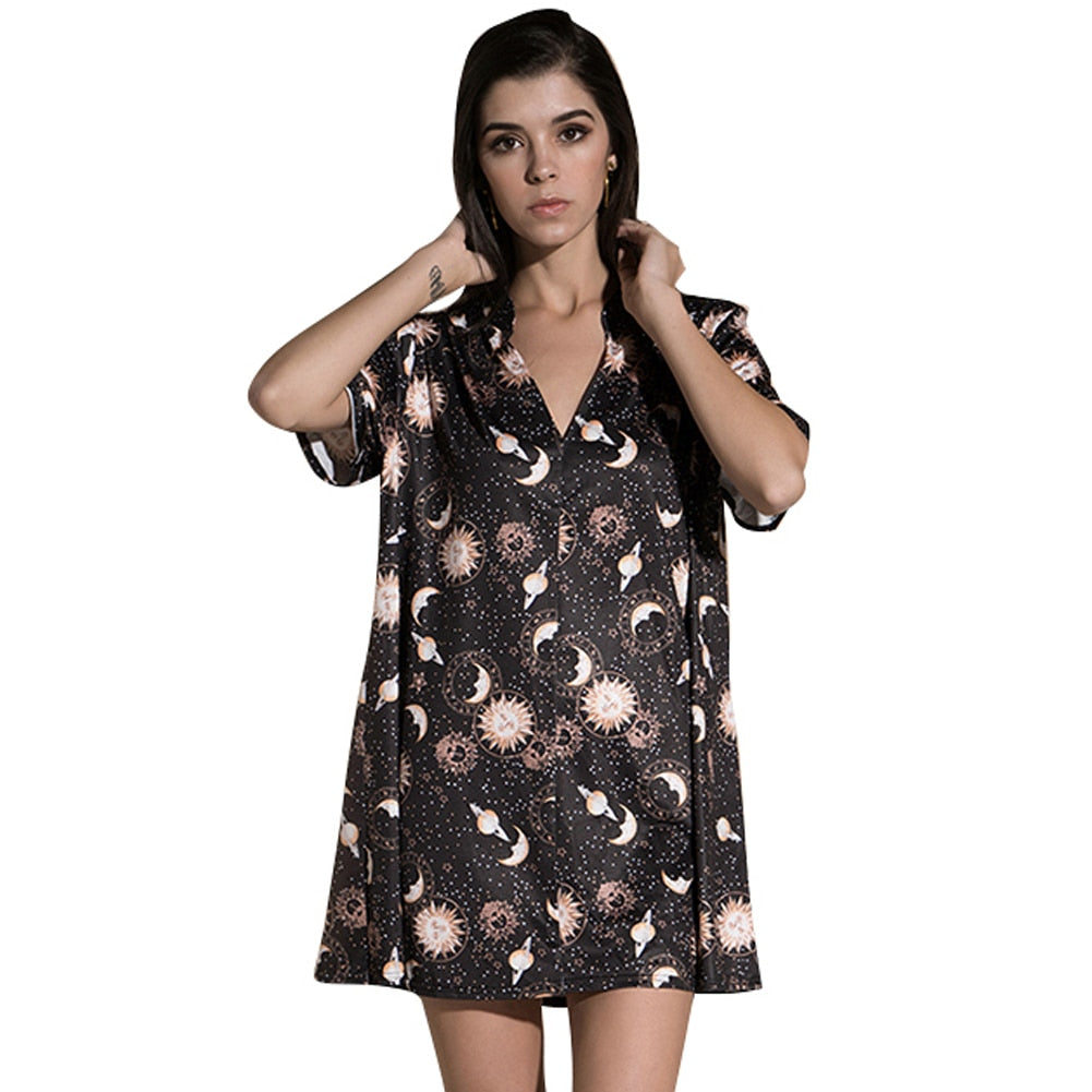 Anself Vintage Women Mini Loose Dress Short Sleeves V-Neck Moon Planet Print Casual Straight T-Shirt Dresses Black Satin Dress-geekbuyig