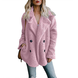2018 Autumn Winter Fashion Women Coat Warm Fleece Double Breasted Female Jackets Pockets Lady Suit Solid Overcoat Clothing-geekbuyig