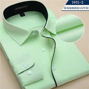 Hot sale High quality male turn down collar long-sleeve slim fit twill solid comfortable business formal mens dress shirts-geekbuyig