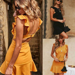 Women Summer Holiday Strappy Backless Sexy Clubwear Ruffles Sleeveless Frill Hem Ladies Beach Party Mini Dress-geekbuyig