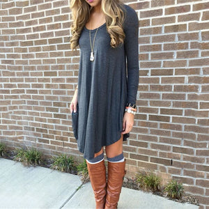 2018 Autumn Casual Loose Knitting Dress Women Solid O-Neck Long Sleeve Asymmetrical Hem Comfortable Dress Plus Size-geekbuyig