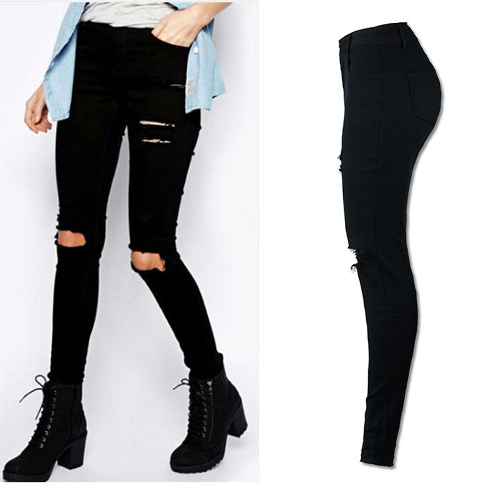 Women Cool Ripped Knee Cut Leggings Jeans High Waist Skinny Long Hole Jeans Pants Slim Pencil Plus Size Trousers Black YL-NEW-geekbuyig