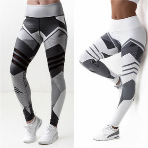 Softu Mesh Pattern Print Leggings Fitness Leggings For Women Workout Leggins Elastic Slim Black White Pants Sweat Trousers-geekbuyig