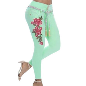 LITTHING 2018 Women Stretch High Waist Skinny Embroidery Jeans Floral Print Denim Pants Trousers Women Pencil Pant Plus Size 5XL-geekbuyig