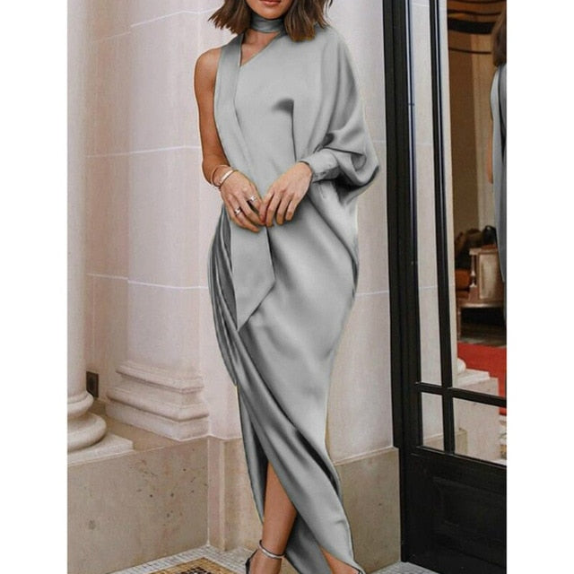 hirigin Autumn One-shoulder Batwing Long Sleeve Ribbon Around The neck Elegant Women Party Robe Indian Saree Style Dress-geekbuyig