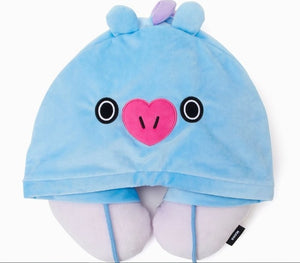 Kpop home for BT21 bts Cute cartoon Q version Hooded U-shaped plush warm comfortable Pillow Travel Neck Cushion Pillow-geekbuyig