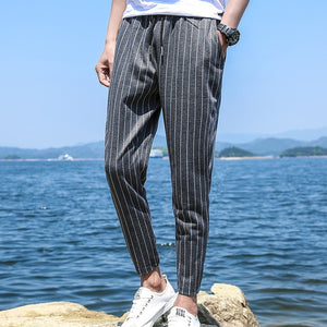 Mens Striped Jogger Pants Black White Striped Cotton Jogger Trousers Autumn Casual Male Streetwear Hiphop Pants Plus Size-geekbuyig