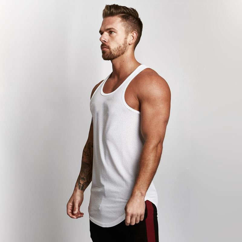 2018 Clothes Golds Solid Mesh Tank Top Men Sleeveless Shirt Bodybuilding Stringer Fitness Mens Muscle Singlet Workout Vest-geekbuyig