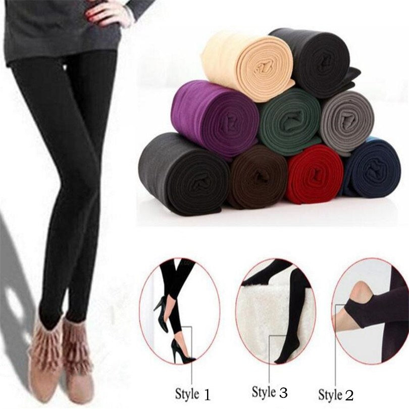 YGYEEG Fashion Casual Fall/Winter Multicolor Women Stretch Pants Leggings Thick Lined Fleece Skinny Slim Leggings Clothing 2018-geekbuyig