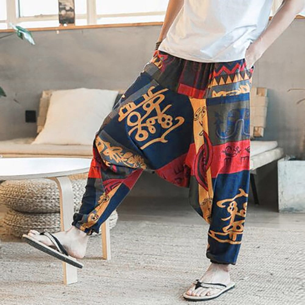 Unisex Loose Casual Drop Crotch Floral Women's Pants 2018 New Joggers Aladdin Harem Trousers Pants-geekbuyig