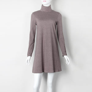New Fashion Autumn Winter Dress Turtleneck Long Sleeve Loose Casual Dress New Solid Dress Women A-Line Robe Plus Size GV160-geekbuyig