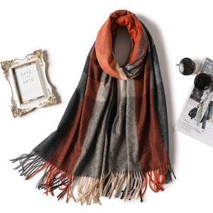2018 brand women scarf winter cashmere scarves for lady warm pashmina shawls and wraps striped thick female neck echarpe-geekbuyig