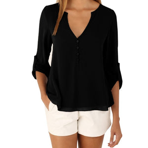 LASPERAL Zipper Short Sleeve Women Shirts Sexy V Neck Solid Womens Tops Blouses Casual Tee Shirts Tops Female Clothes Plus Size-geekbuyig