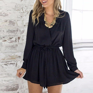 BEFORW Women Sexy V Neck Bkack Rompers Womens Jumpsuit Long Sleeve Sexy Party Office Chiffon Playsuit-geekbuyig