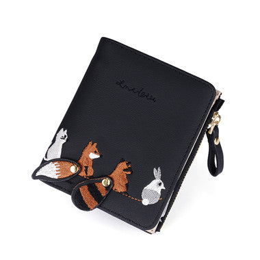 WESTERN AUSPICIOUS Female Wallet Short Embroidery Animal Pattern Women Wallets Pink Green Black Gray Womens Wallets And Purses-geekbuyig