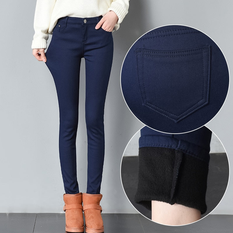 Weweya 2018 Winter Jeans for Women Warm Thick Velvet Skinny Pencil Jeans Pants Woman High Waist Plus Cashmere Multicolor Jeans-geekbuyig