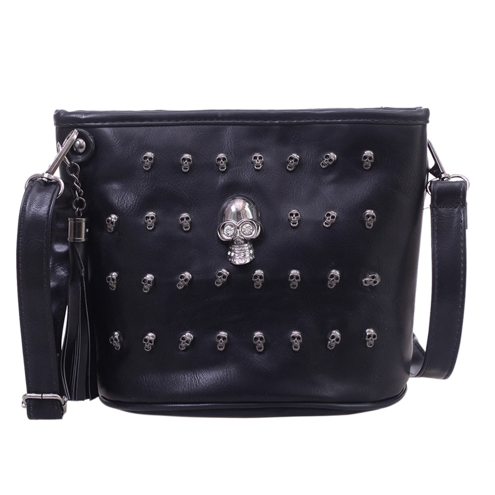 Skull Design Women Messenger Bags Handbags Shoulder Bags Satchel Clutch Girl Black Skull Crossbody Bag Bolsas Borse Feminina-geekbuyig