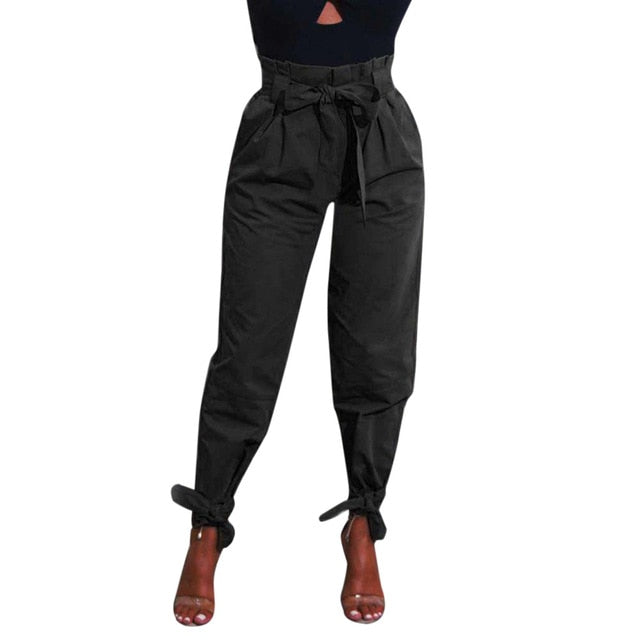 Woman jeans Winter 2018 Womens Belted High Waist Trousers Ladies Party Casual Pants 7.13-geekbuyig