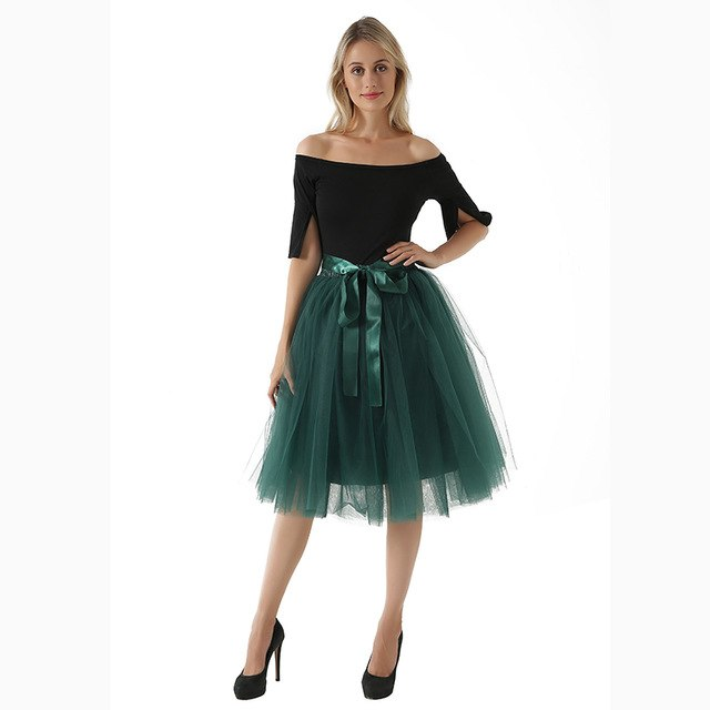Underskirt 7 Layered Tulle Skirts Womens 2018 Summer High Waist Swing Dolly Ball Gown Mesh Tutu Midi Skirt Faldas Saias-geekbuyig