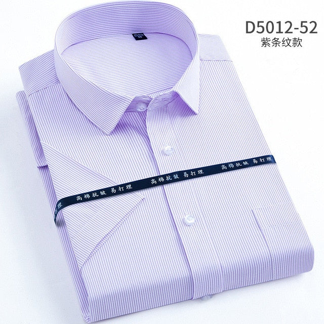 large size 6XL 7XL 8XL Men's Short Sleeve Shirts Casual high quality Solid Color Formals dress shirt for Men's Shirts Slim fit-geekbuyig