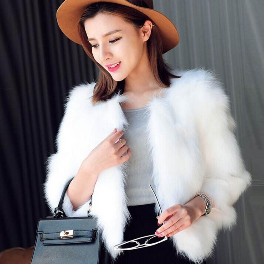 KLV 2018 Fashion Women Faux Fur Ostrich Feather Soft Fur Coat Jacket Fluffy Winter Waistcoat Outerwear Manteau Femme 13p-geekbuyig